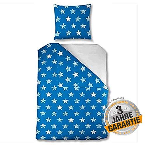 Aminata kids schöne Premium Bettwäsche-Set Sterne blau, weiß 135 x 200 cm + 80 x 80 cm aus Baumwolle mit Reißverschluss, für Jugendliche, Männer, Frauen & Single mit Stern-Motiv, Star