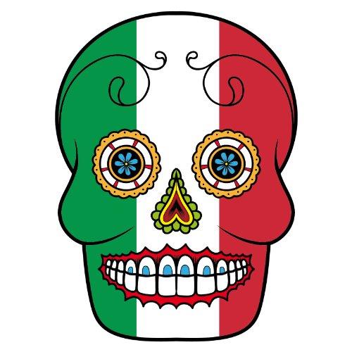 V-T-Shirt - Italien - Sugar Skull - Fahne - Damen Weiß