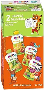 HiPP HiPPiS Quetschbeutel Mixpack, 4 verschiedene Geschmacksrichtungen, 100% Bio-Früchte ohne Zuckerzusatz, 4