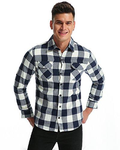 MODCHOK Herren Freizeithemd Langarm Shirt Flanellhemd Karierte Karo-Hemd Oberteile Trachtenhemd Slim Fit Blauweiß