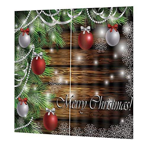(Weihnachtsvorhang, 3D-Druck, Dekoration, Faltenschutz, kein Verblassen, für Wohnzimmer, Schlafzimmer, Weihnachtsdekoration)