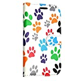 Samsung Galaxy S7 2016 Case and Wallet Leather Flip Cover with Card Slot Full Body Protection Cell Phone Cover Wallet Kamal Star® (Multi Dog Cat Foot Book)