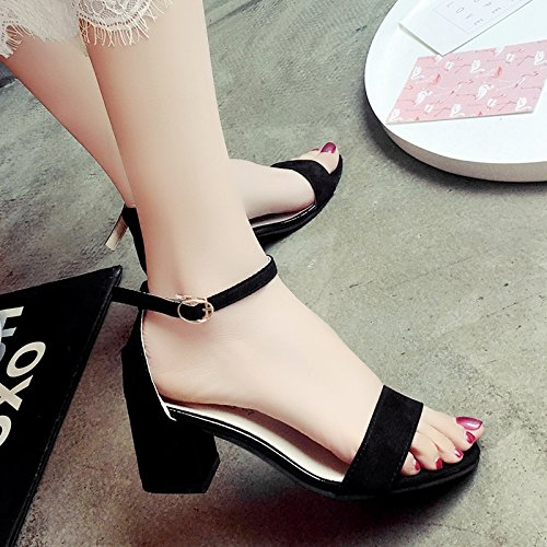 XY&GKDamen Sandalen Sommer Tau Toe Schnalle mit Rom High-Heeled Schuhe 38 black