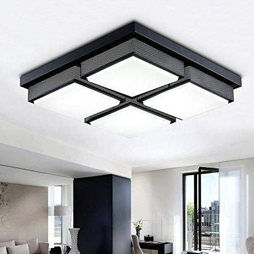 KHSKX Lampada da soffitto,Creative LED rettangolare semplice camera da letto soggiorno lampada lampada da soffitto lampade in ferro e ornamenti 480/720mm*480mm*80mm , testa 4