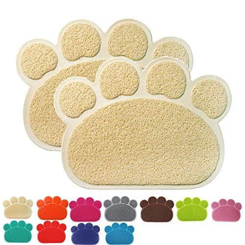 Premium Pet Tappetini Sottociotola per Cibo per Cani e Gatti, Impermeabile Antiscivolo Pet Feeding Bowl Pet Litter Trey Tappetino per Gatto e Cane, Piccolo, Set di 2, Beige