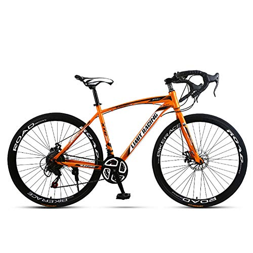 Unisexo Bicicleta de Carretera competitiva 26 Pulgadas Acero de Alto Carbono 21 Velocidad Freno de Disco Doble Estudiante Niño Cabellera Dura Ciudad del Viajero Bicicleta de Carretera,Orange