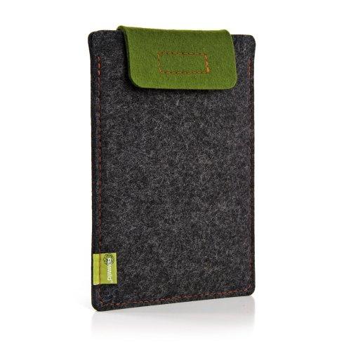 Almwild® Hülle Case iPad Pro11 (alleine) oder Apple iPad Air/Pro 10.5 mit/ohne Smart Cover. Natur- Filz - Sleeve in Schiefergrau, Schwarz. Verschluß Moos- Grün. iPad Tasche aus bayerischer Manufaktur -
