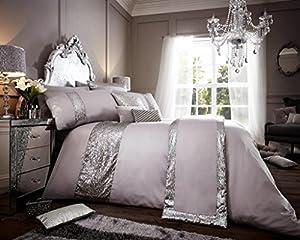 Luxury duvet cover sets with pillowcases polyester new (Glamorous Silver, King Duvet Set)