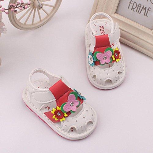 Chaussures de bébé avec le sonore Pour 0-36 mois ,Transer ® Bébés filles fleurs Sandales avec des chaussures antidérapantes à semelles douces Blanc