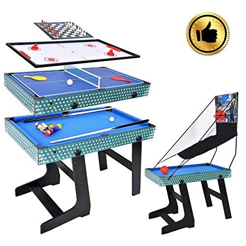 WIN.MAX 5 in 1 Multi-game Table, Basket, Billiard, Chess, Table Tennis, Air Hockey Table Competition Sized MDF Construction Fun Game Heavy Duty