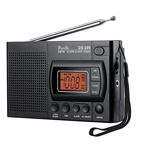 Dreamsky Digitales Radio Klein AM/FM mit Lautsprecher, Kopfhörerbuchse, Digitaluhr Funktion (Timerfunktion, Nachtlicht, Schlaf-Timer, Aufsteigender Alarm), Tragbares Radio Wecker, Batteriebetrieben