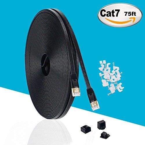 MKDGO Flach Cat7 Ethernet Kabel 75 Fuß Geschirmt (STP) Schlanke Rj45 LAN Netzwerkkabel 10GB 600MHz Internet Computer Patchkabel für Switch/Hub/Router/Modem/Patch Panel (22,8m/75ft) (75' Pc)