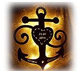 """Schlummerlicht24 Holz 3d Motive Design Led Nachtlicht Lampen """"Anker der Liebe"""", Geschenk mit Namen & Datum für den Freund die Freundin, als Liebesbeweis zum Jahrestag Hochzeit Verlobung Schlafzimmer"""