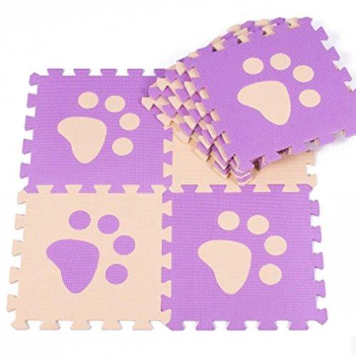 matte Schaumstoff Puzzle Matte Kinder Spielteppich Spielmatte Baby krabbeln Boden Schlafzimmer Yoga Turnhalle 30*30cm 9 teilig (Lila Fuß) ()