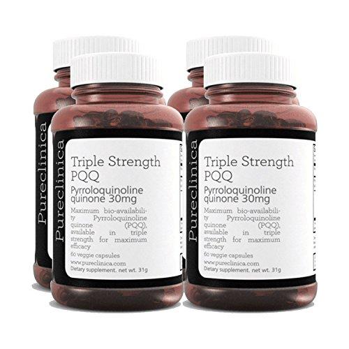 PQQ (Pyrroloquinoline) in dreifacher Stärke - Unglaubliche 240 vegetarische 30mg Kapseln - 300% stärker als die Produkte anderer Anbieter Sku: PQQ3x4