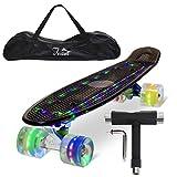 """Feldus 22"""" Retro Skateboard Komplett Fertig Montiert mit Tasche und T-Tool (Deck LED Schwarz/ LED Räder in 4 Farben)"""