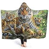 Henry Anthony Jungle Tigers Cub Hoodie Decke Coral Plush Ultra Soft Plüsch Freizeit Wear Hooded Throw Wrap