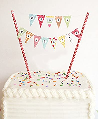 VFENG Mini Happy Birthday Cake Bunting Banner Cupcake Topper Garland - Handmade Pennant Flags with Red Dots Straw Pole,Party Cake Decoration Supplies