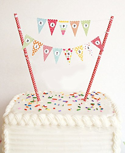VFENG Mini Happy Birthday Cake Bunting Banner Cupcake Topper Garland