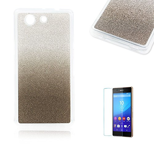 Sony Xperia Z3 Mini/Compact Case [with Free Screen Protector], Funyye Soft Silicone Gel TPU Ultra Thin Slim Glitter Black Gradual Colour Changing Protective Rubber Bumper Case Cover Shell for Sony Xperia Z3 Mini/Compact