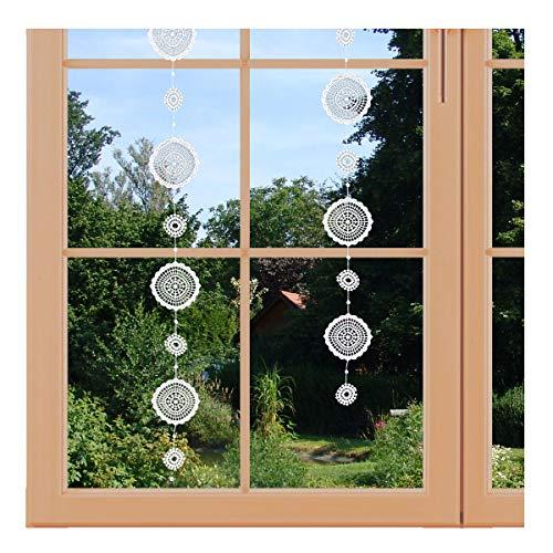 artex deko Girlande/Fensterbild Mandala-Kreis Hochwertige Ganzjahres-Fensterdekoration aus Echter Plauener Spitze inkl. 2 Saughaken