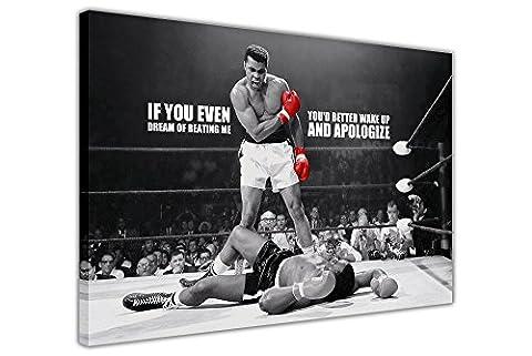 Impressions sur toile mur Art Photos Legends emblématique Muhammad Ali Knockout KO Tableau imprimé citation Rêve Décoration Chambre Maison Mur nostalgie Champions de boxe