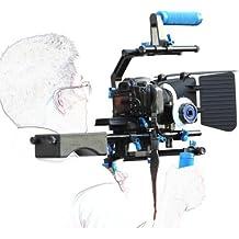 eimo - Supporto professionale a spalla per videocamera DSLR, follow focus, matte box, piattaforma regolabile, impugnatura a gabbia a forma di C, impugnatura superiore per fotocamere e videocamere DSLR