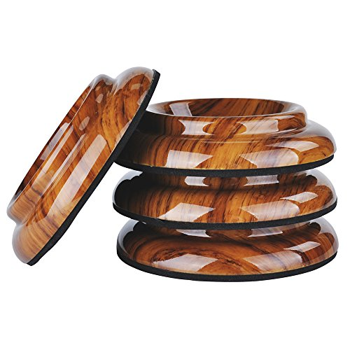 KingPoint ABS Upright Piano Caster Cups Set of 4 Rosewood Color Slip Resistant