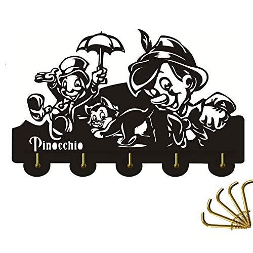 ANMY Pinocchio Schlüsselhalter aus Holz Aufhängern einzigartigen Geschenk-Kleidung-Hut Schlüsselhaken/Kleiderhaken/Wandhaken Hauptdekoration-Wand-Aufkleber Küche Bad Handtuchhaken, Schwarz