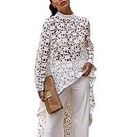 فستان بلوزة نسائي من PRETTYGARDEN بأكمام طويلة ورقبة دائرية غير متماثلة وحاشية غير منتظمة غير منتظمة -  Small