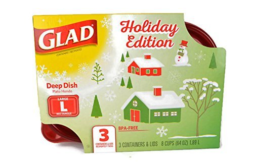 Gladware Large Food Storage Containers, 8 cup/64oz, 3 count (Holiday) by Glad 3 Cup Container