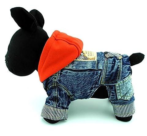 ranphy Kleine Haustiere Hund Katze Kleidung Fleece Denim Coat Jacke Jumpsuit mit Kapuze Kostüm