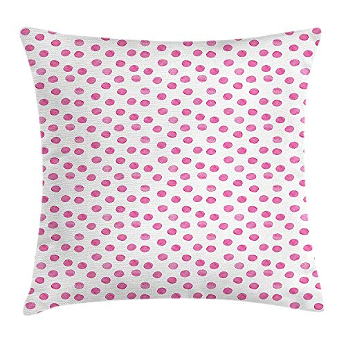 VTXWL Polka Dot Throw Pillow Cushion Cover, Sugar Pink Color Irregular Polka Dots Formed by Watercolor Paint Brush, Decorative Square Accent Pillow Case, 18 X 18 Inches, Hot Pink and White (Cat-body Halloween Paint)