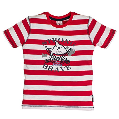 t & Pepper Jungen S T-Shirt Sharky Stripes, Rot (Fire Red 378), 116 (Herstellergröße: 116/122) (Piraten Shirt Kinder)