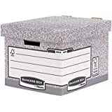 Bankers Box System Standard Storage Box with Fastfold System, 100% Recycled Cardboard–Pack of 2–Grey