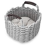Navaris Katzenkorb aus Stoff mit Kissen - Katzenbett Hundebett weich in Korboptik - Bett für kleine Katzen und Hunde - Katzenkörbchen in Grau