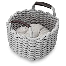 Navaris Small Cat Bed Basket - Soft Woven Round Pet Nest with Handles and Removable Cushion - Gray Braided Cotton Rope Bedding for Cats and Dogs