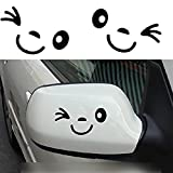 2 Pcs x CAOLATOR Etiqueta Engomada Linda de la Cara de la Sonrisa para los lados Espejo Retrovisor del Coche