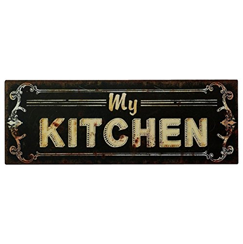 Cartel de chapa Placa Decorativa, My Kitchen Cocina Vintage estilo antiguo 13 x 36