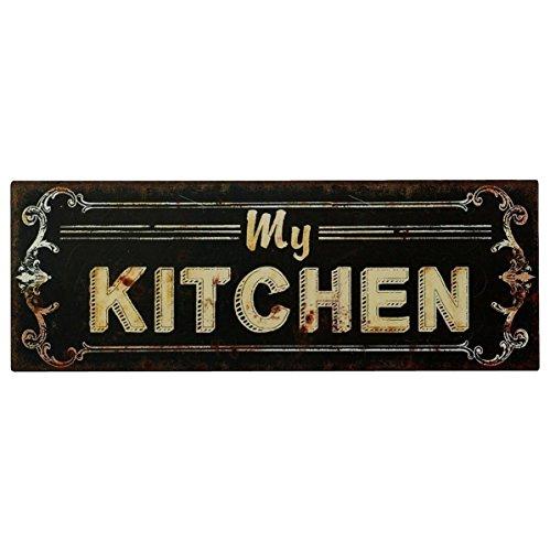 Cartel de chapa Placa Decorativa, My Kitchen Cocina Vintage estilo antiguo 13x 36
