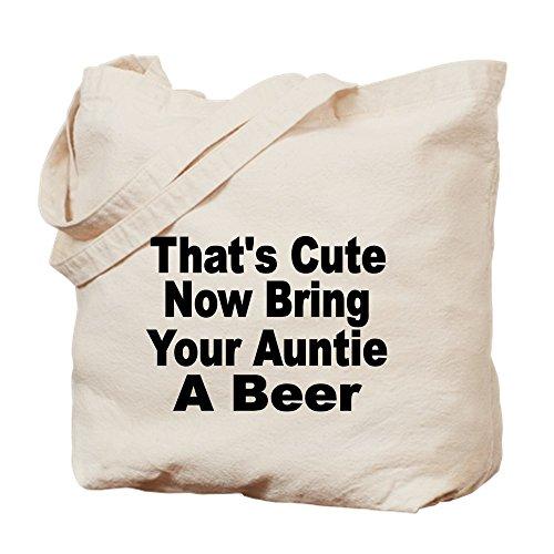 Tante Cute Frauen T-shirt (CafePress Thats Cute. Now Bring Your Auntie A Beer. Tragetasche, Canvas, Khaki, M)