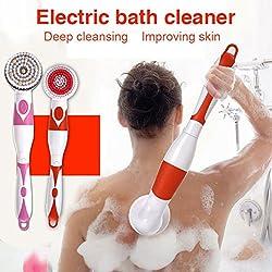 Shower Brush with Long Handle Yiitay Electric Shower Brush Set back scrubber for women and men SPA Massage Set(Orange)
