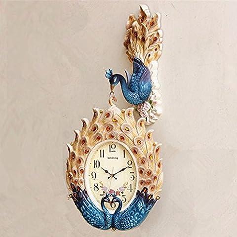 HONGLONG Recto verso chinois wall clock Horloge murale calme duplex peacock creative Jong-Quiet les puces de téléphone avec réveil simple et moderne, Déco murale