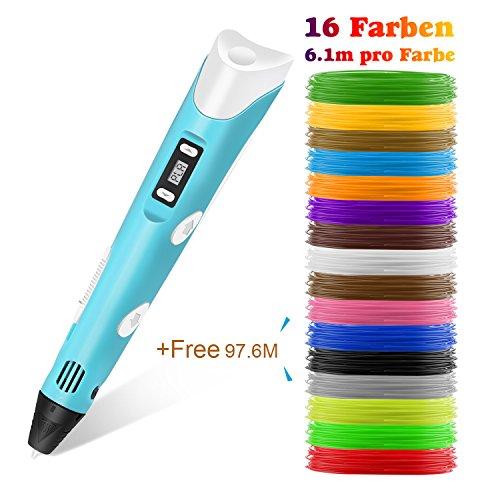 Lovebay 3D Drucker Stift DIY Scribbler 3D Stereoscopic Printing Pen mit LCD-Bildschirm + 3 X ⌀1,75 mm PLA Filament Blau Weiß Grüne,insgesamt 9M || für Kinder Anfänger Erwachsene Zeichnung