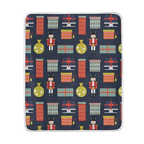 Nussknacker, Geschenke, Muster, Überwurf, weich, warm, leicht, Decken für Bett Couch Sofa, Reisen, Camping, 152,4 x 127 cm ()