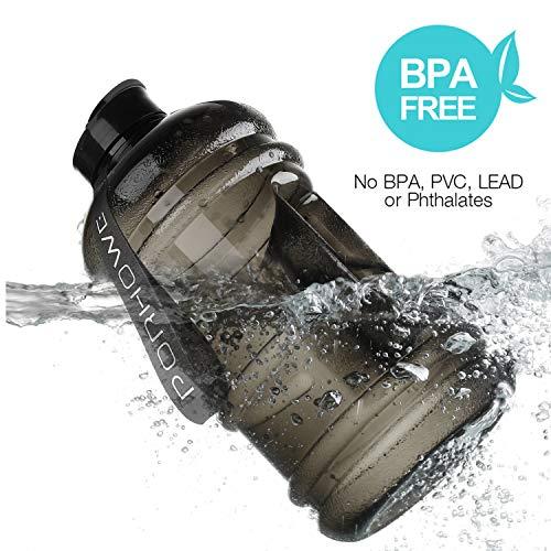 (porhowe 2,2Liter Sport Trinkwasser Flasche BPA-frei Kunststoff Big Kapazität Große Lecksicher Wasser Krug Container mit, der Loop-Flasche für Outdoor Sports Fitness Gym Workout Wandern & Büro, Schwarz )