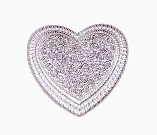 Magnet-Spange Tuchclip/Tuchspange/Trachtenspange/Schalclip/Trachtenbrosche Silber - Herz (Herz Fransen)