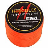 Hercules PE Dyneema Superline geflochtene Angelschnur 1000 m 10lb-300lb, 8-fach, Herren, Orange, 15lb/6.8kg 0.16mm