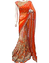 Nena Fashion Women's Georgette Saree With Blouse Piece (Nf-Diva- Red_Red)-1 (Orange)