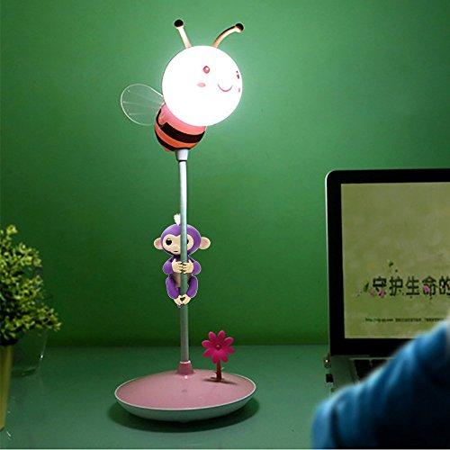 COLORFUL Neuheit Portable Smart Touch LED Nachtlicht Stifthalter Affe Klettern Unterhaltungsplattform Für Baby Affe (Rosa)